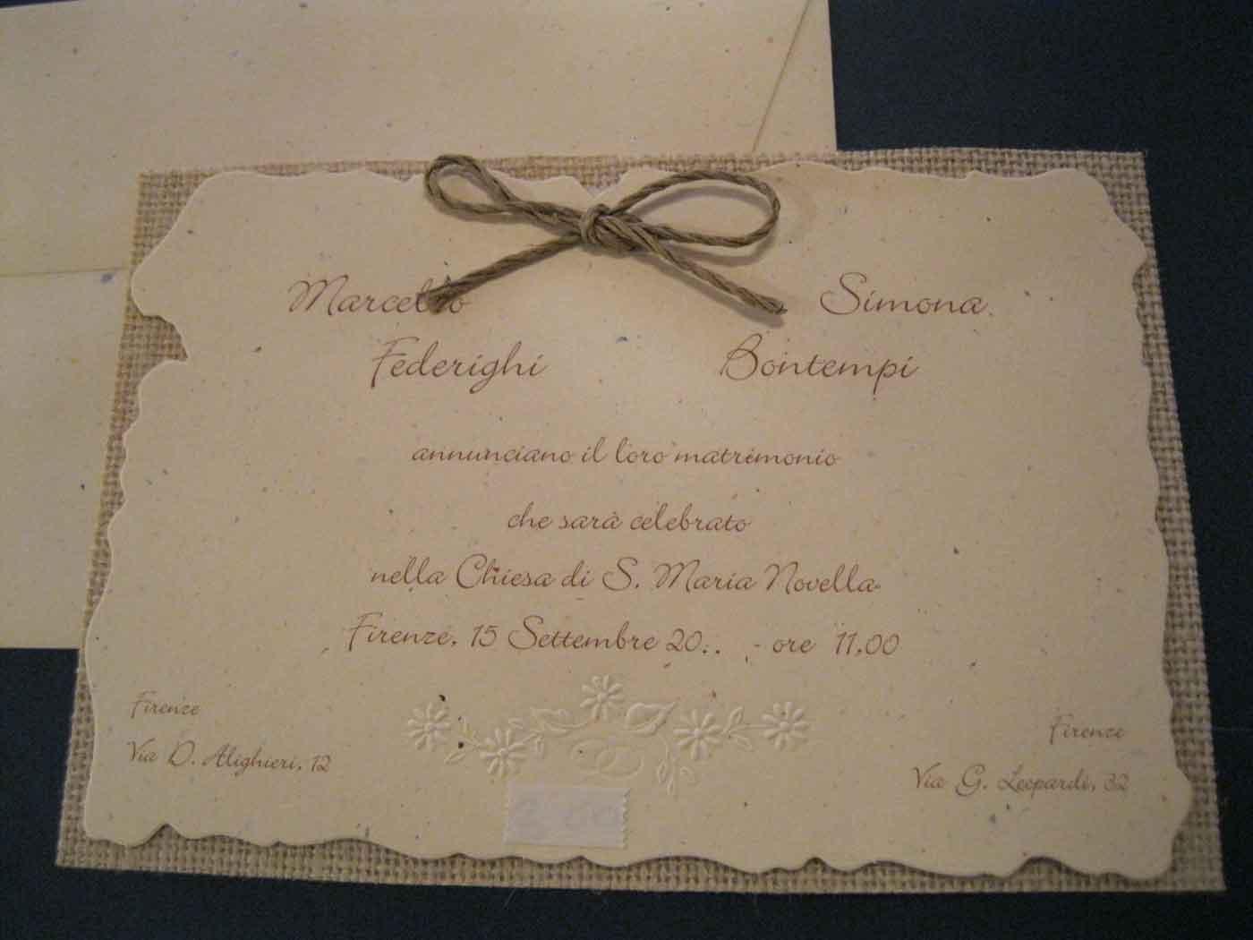 Partecipazioni Matrimonio Senza Busta.Documento Senza Titolo