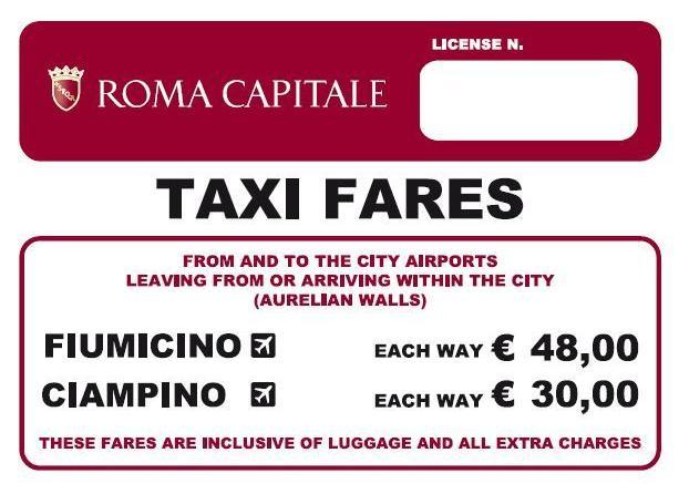 Risultati immagini per taxi roma tariffa fissa