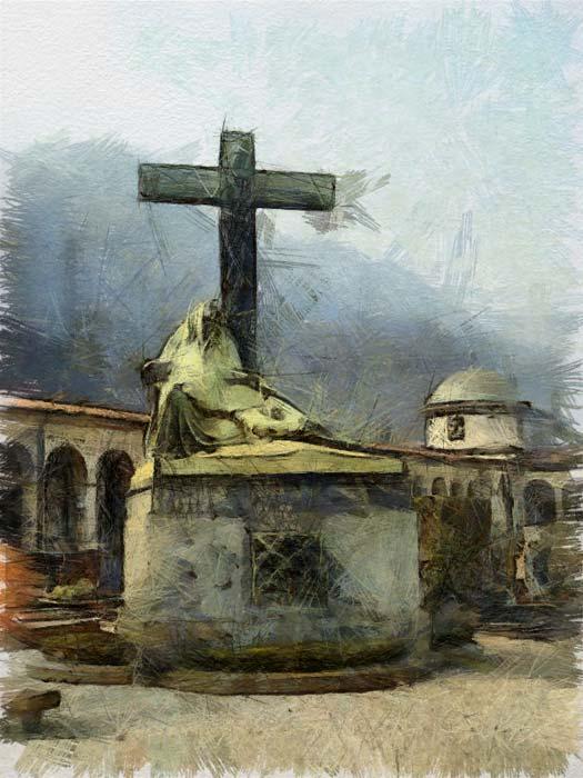 Una tomba del cimitero monumentale di Como