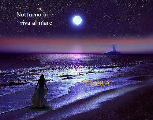 Notturno Al Mare Con La Luna Che Fa Luce Su Parliamone
