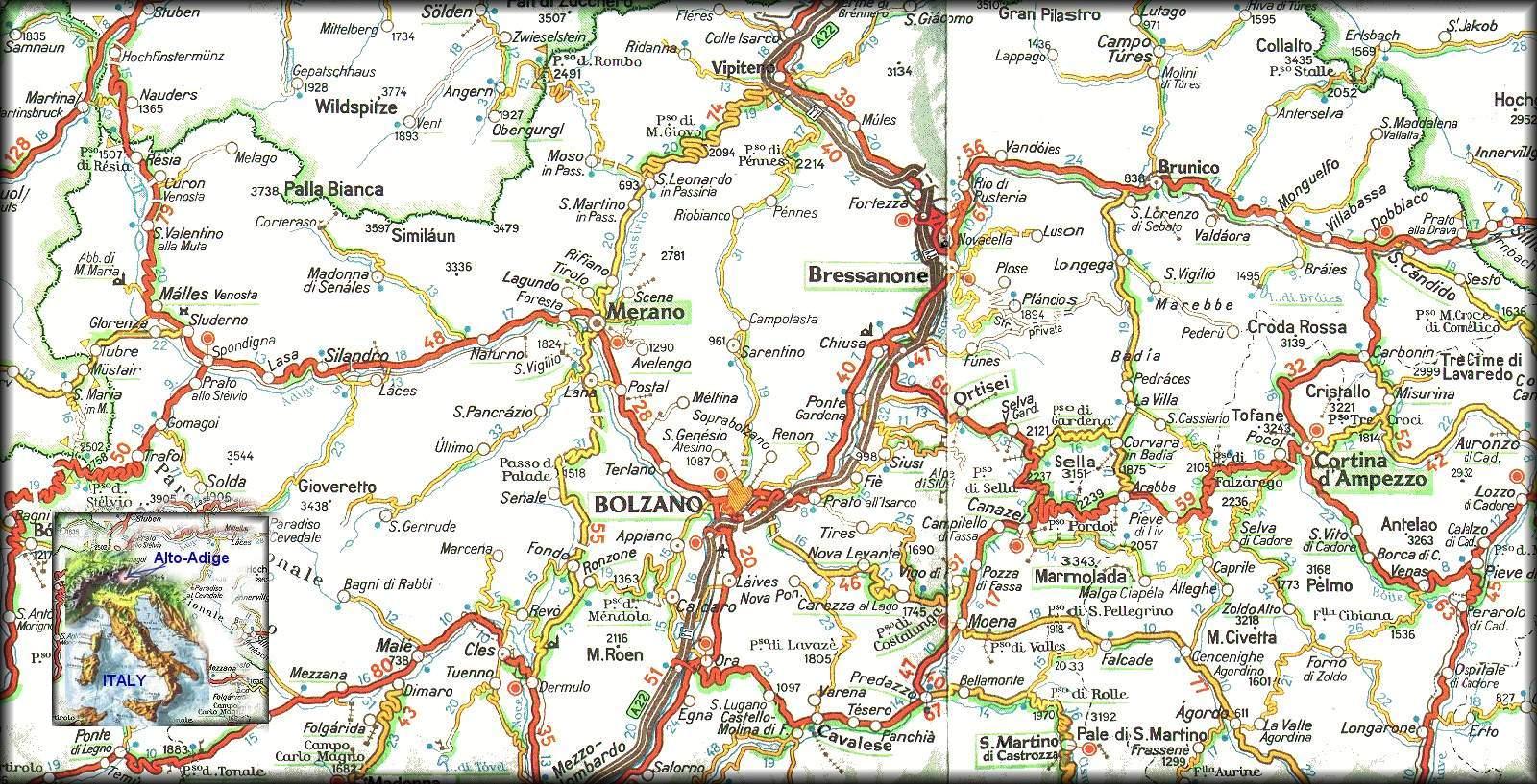 Trentino Alto Adige Cartina Stradale.Cartina Bolzano Alto Adige Italy By Rd Soft C