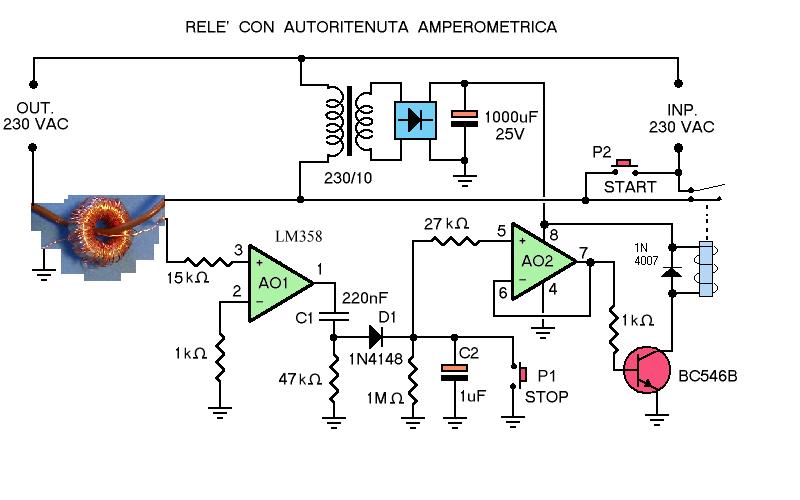 Schema Elettrico Contattore E Salvamotore : Rele con autoritenuta amperometrica