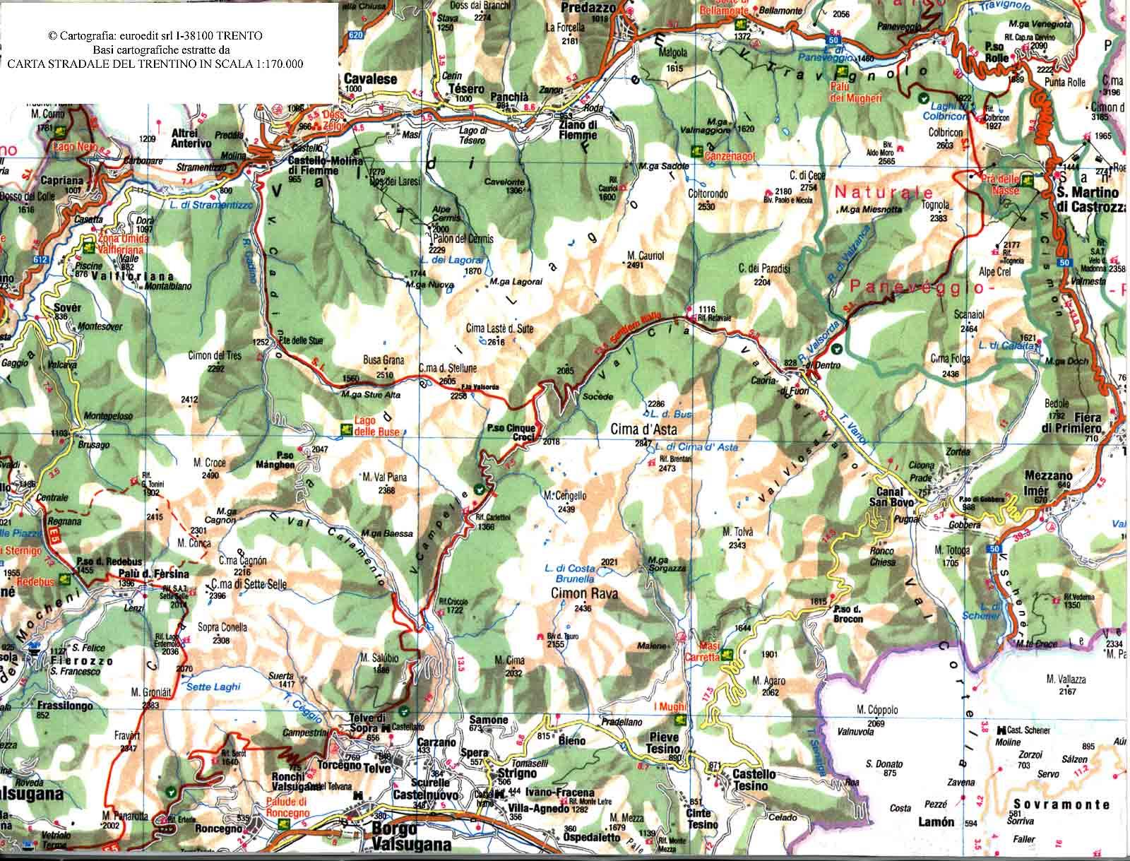 Cartina Stradale Trentino.Mappe E Carte