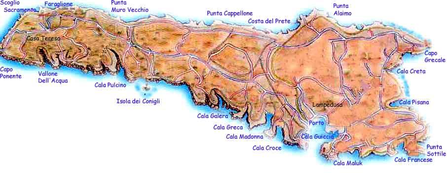 Cartina Delle Spiagge Di Lampedusa.Lampedusa