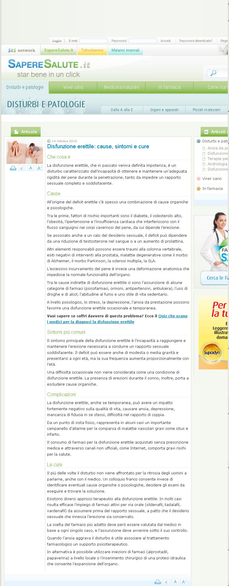 Disfunzione erettile: cause, sintomi e cure