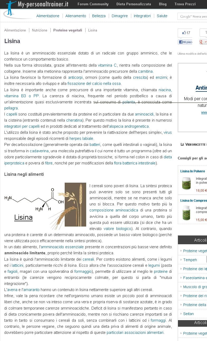 L'amminoacido essenziale, la lisina
