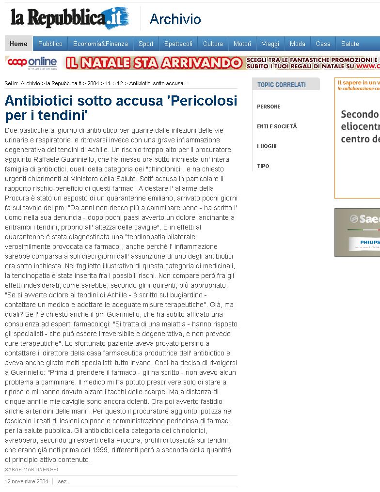 Antibiotici sotto accusa 'Pericolosi per i tendini'