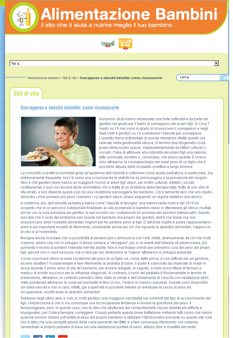 Sovrappeso e obesità infantile: come riconoscerle