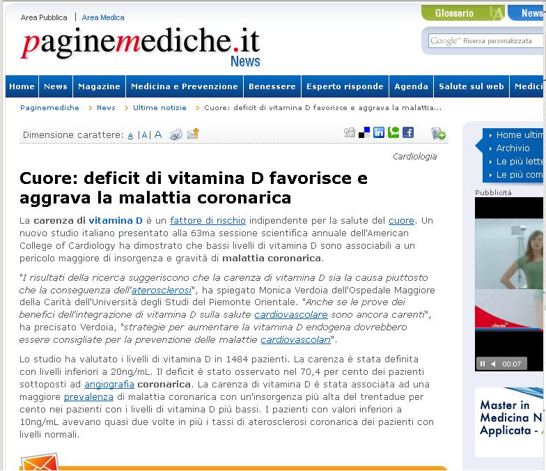 Cuore: deficit di vitamina D favorisce e aggrava la malattia coronarica