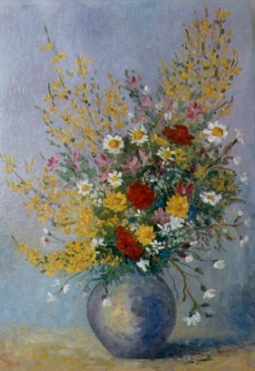Vaso con mimose e margherite for Vasi di fiori dipinti