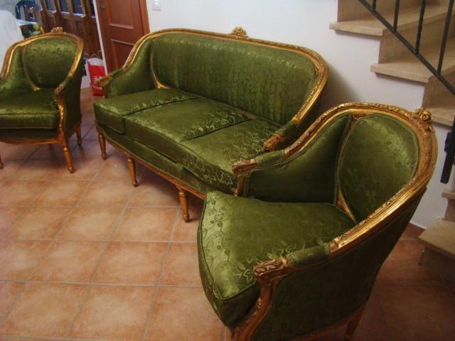 Salotto luigi xvi divano e 2 poltrone a pozzetto in legno - Divano a pozzetto ...
