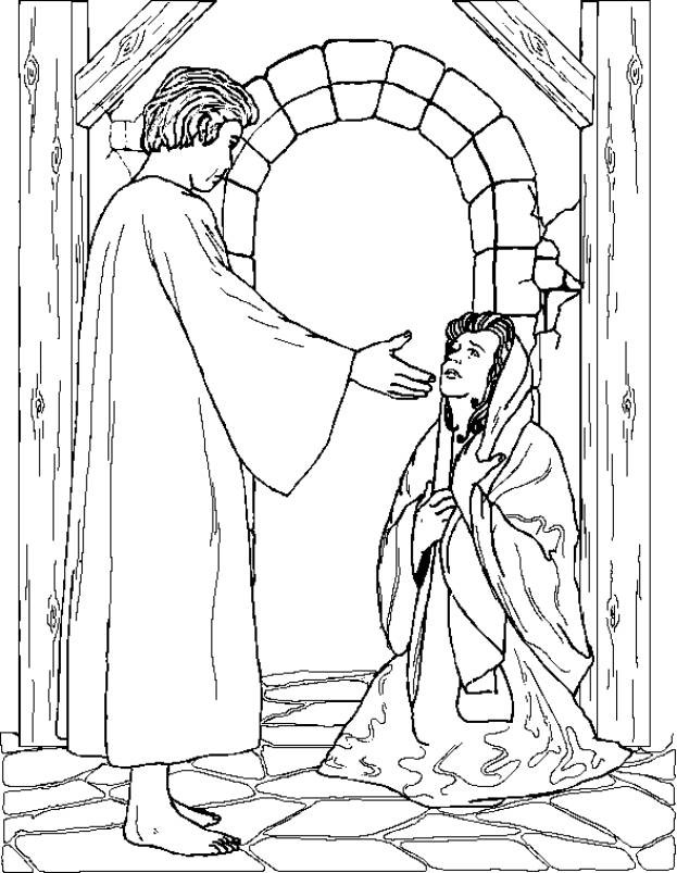 mary and the angel coloring page - nel giardino degli angeli catechismo disegni