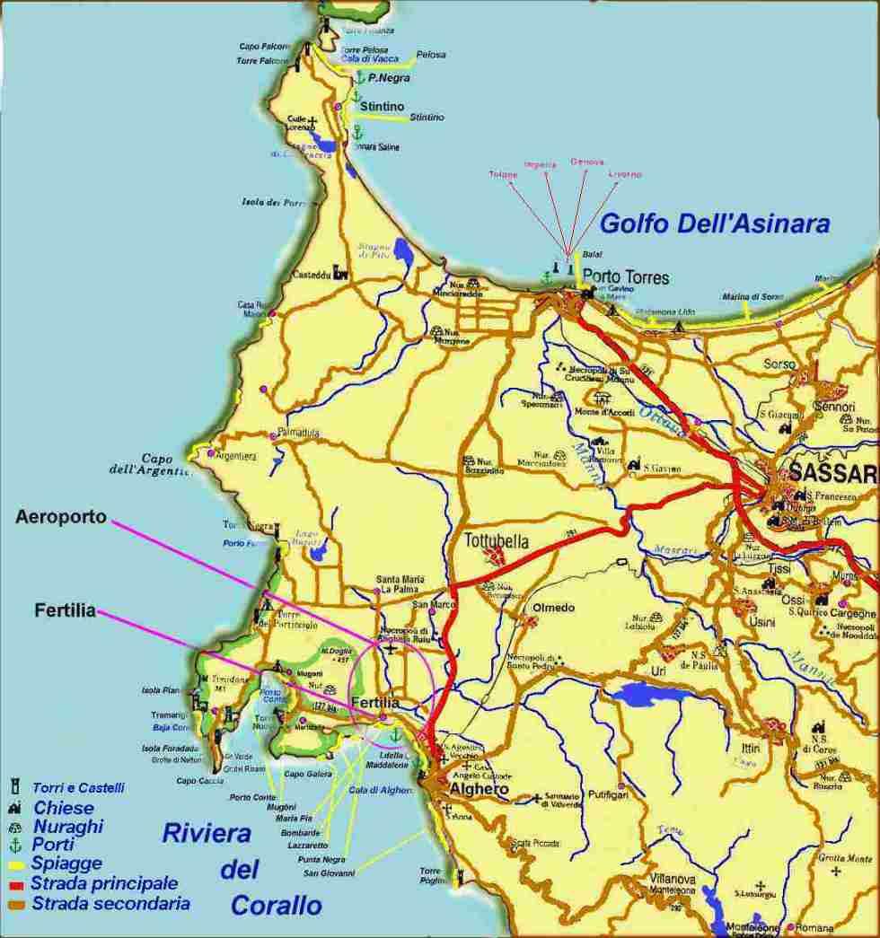 Cartina Sardegna Con Aeroporti.Porto