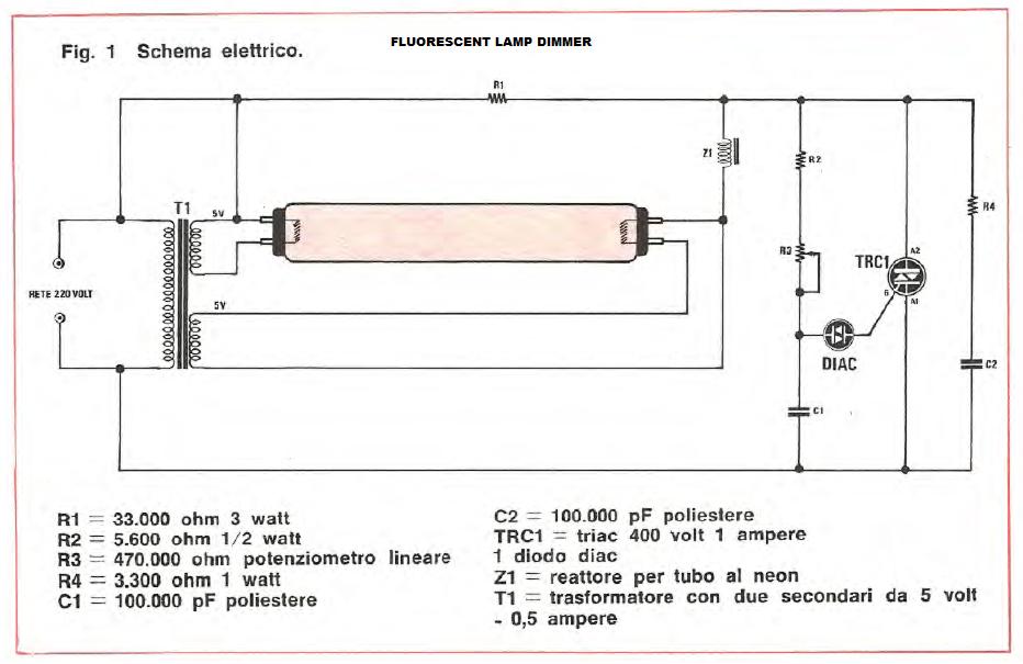 Schema Elettrico Neon A Led : Dimmerare lampada a fluorescenza elettronica generica
