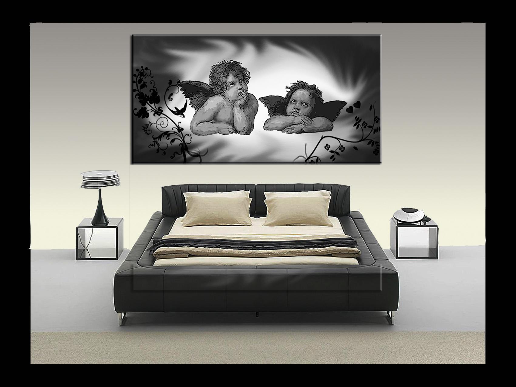 Quadro puttini angeli dipinti a mano olio su tela - Quadro sopra letto ...