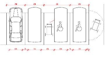 Speciale barriere architettoniche for 3 dimensioni del garage di stallo