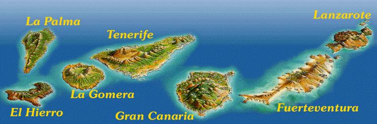 Mappa delle 7 isole canarie