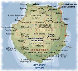 Isole Gran Canarie Cartina.Isole Canarie Mappa Gran Canaria