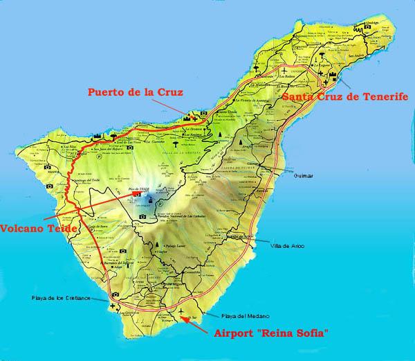 Isola Tenerife Cartina.Isole Canarie Tenerife Mappa Dell Isola