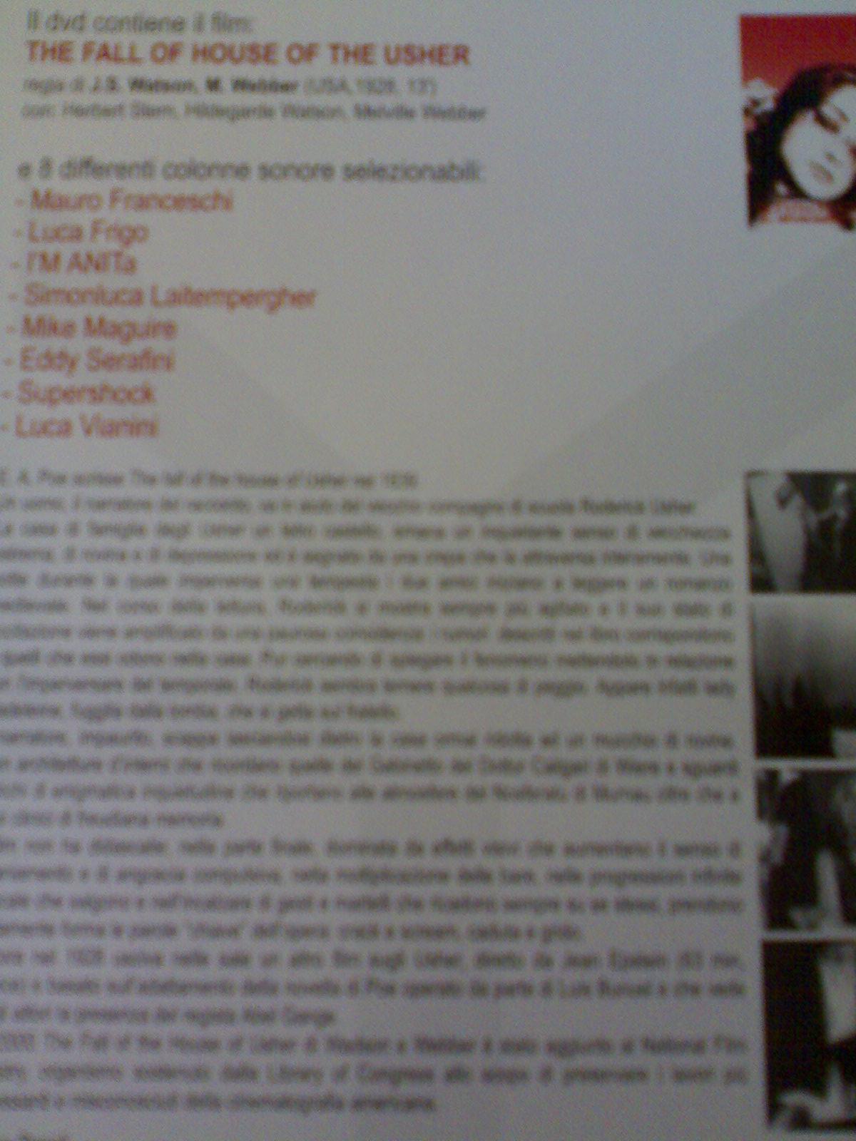 dvd de La caduta della casa Usher contenente anche la colonna sonora di Luca Frigo