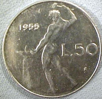 Efesto sul resto della moneta di 50 lire