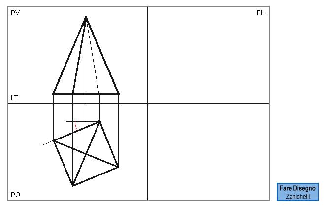 Proiezione della piramide a base quadrata