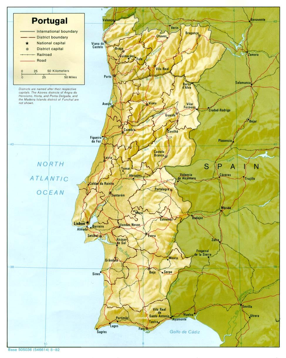 Cartina Fisica E Politica Del Portogallo.Portogallo