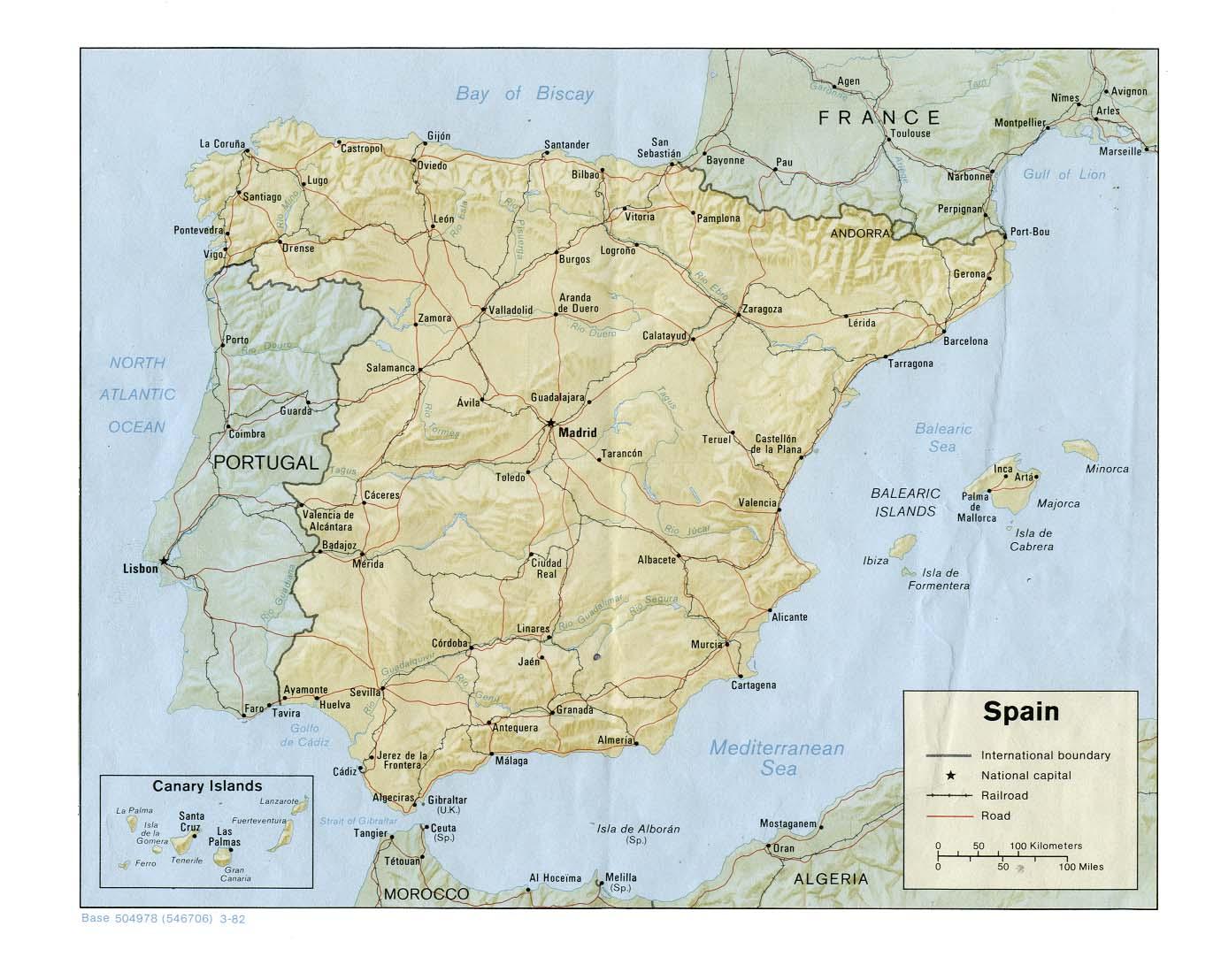 Tenerife Cartina Spagna.Spagna Cartina Fisica E Politica