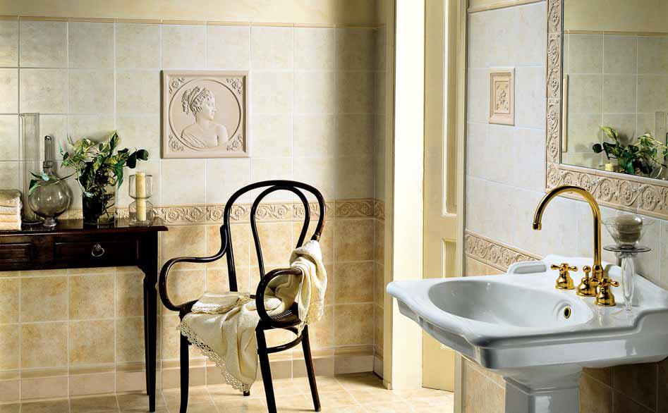 rivestimento da bagno tradizionale con finitura satinata nel classico formato 20x20