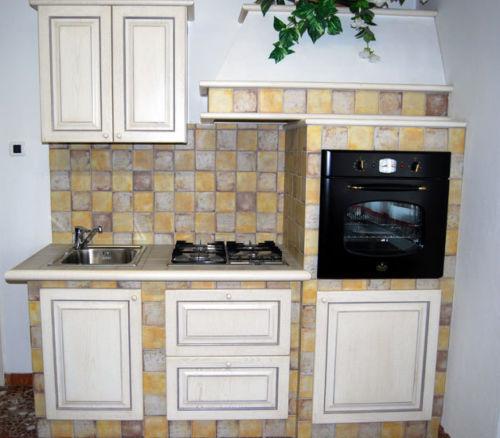 Favorito Cucina finta muratura mobili legno panna anticato Contessa nuova US79