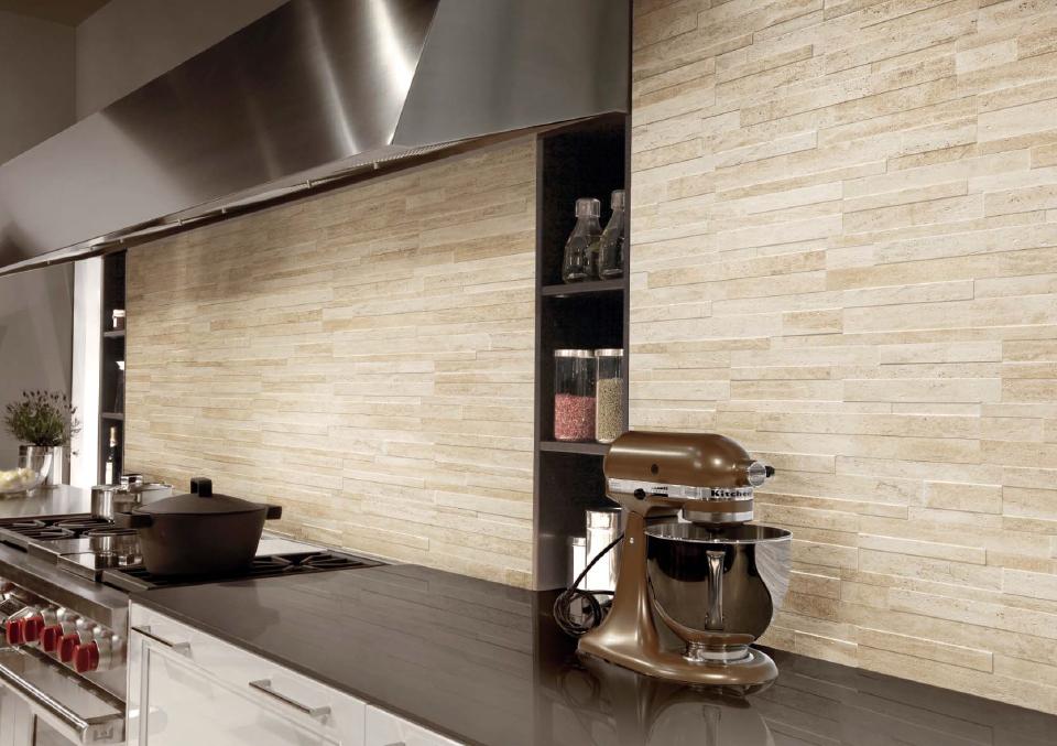 Piastrelle gres rivestimento pareti moderno effetto pietra - Rivestimenti cucina moderna ...