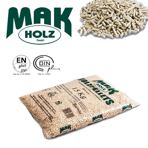 5 Sacchi Pellet Mak Holz Austriaco Chiaro Abete Bianco