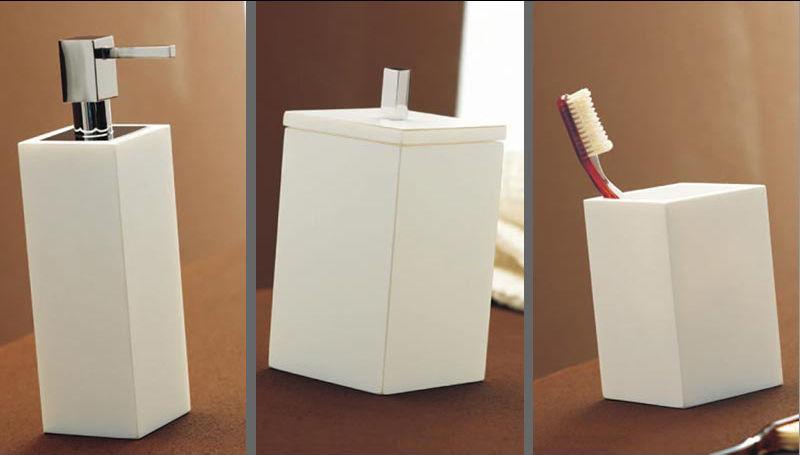 set 3 pz accessori da bagno da appoggio capannoli teknika bianco