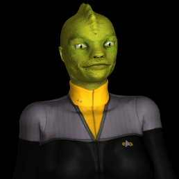 Femmina Gorn in uniforme Starfleet