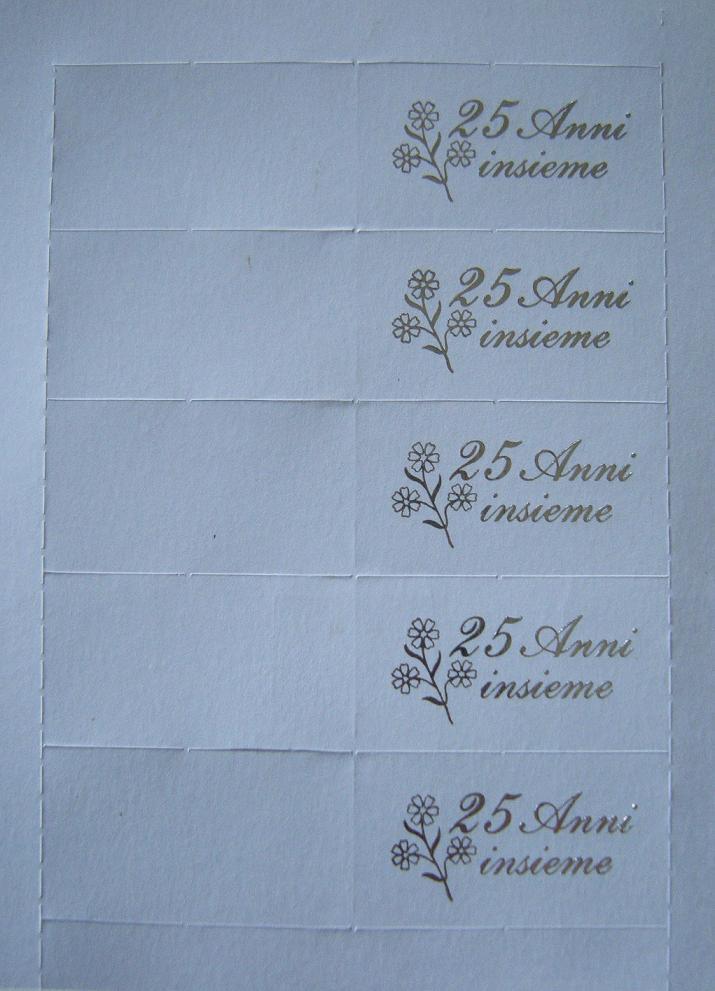 Stock 50 bigliettini x bomboniere 25 anni matrimonio nozze for Idee regalo per 25 anni matrimonio