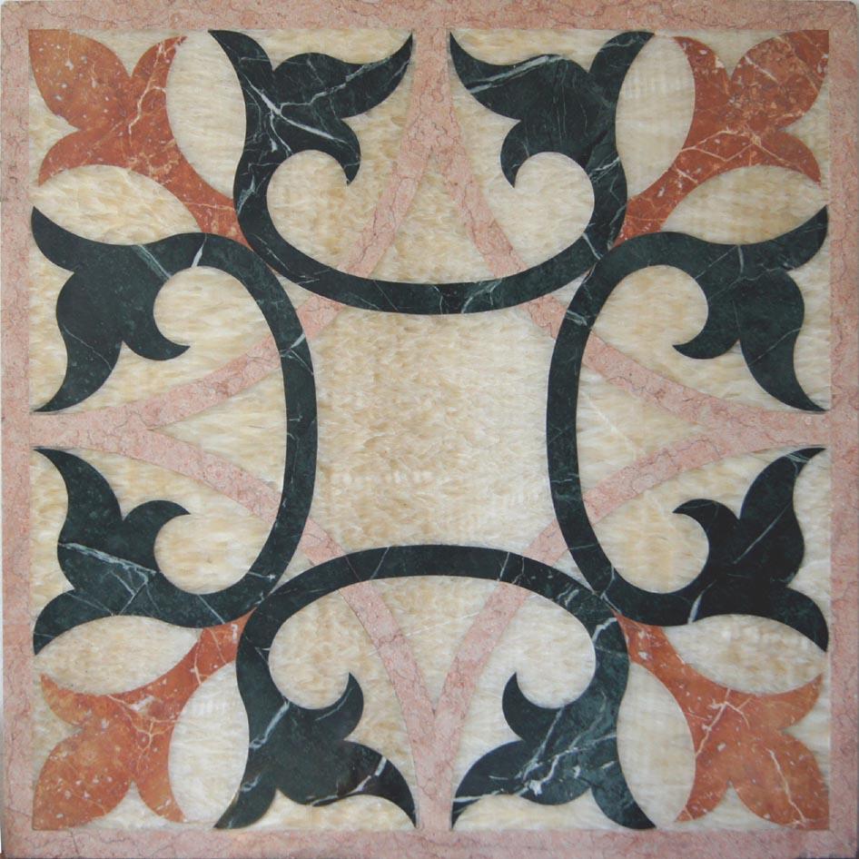 Rosone in marmo ad idrogetto 90x90 cm mosaico pavimenti - Piastrelle tipo mosaico ...
