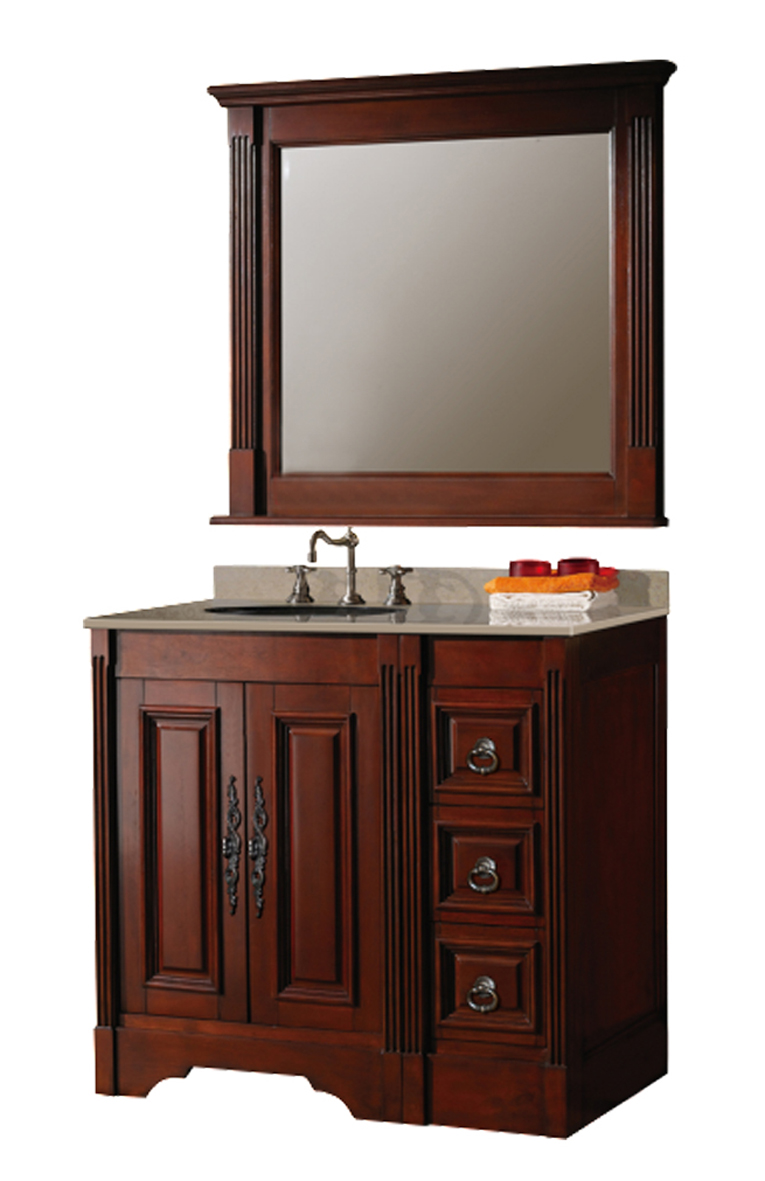 Mobile bagno 90 cm in legno massello noce antico con specchio e lavabo ebay - Mobili in specchio ...
