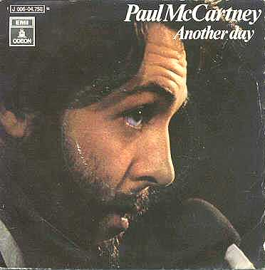 Faul wearing evident fake nose tip on 'Another Day' 45 rpm front cover