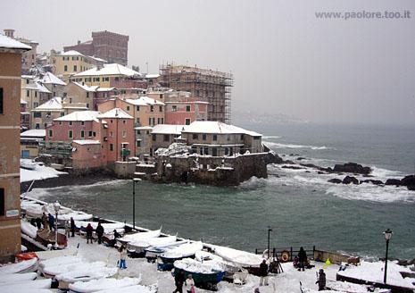 Foto di Genova Boccadasse nevicata
