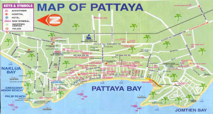 Thailand Pattaya Map