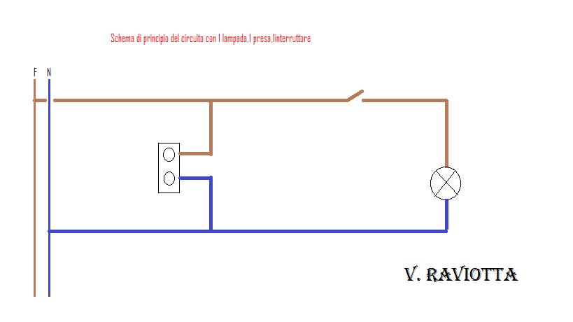 Schema Elettrico Una Lampada Tre Interruttori : Schema elettrico presa interruttore lampadina