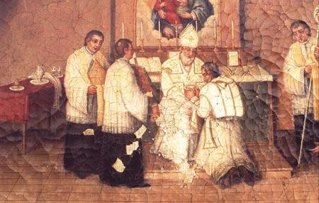 Neofytus døpes av biskop Agatho
