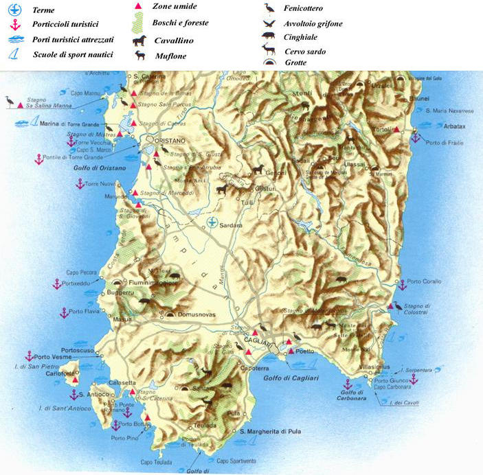 Cartina Geografica Della Sardegna Meridionale.Cartine E Mappe Della Sardegna Carta Ambientale