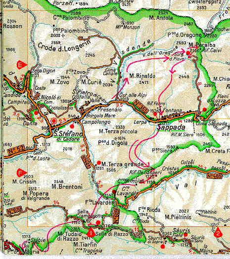 Cartina Geografica Dolomiti.Mappa Delle Dolomiti Carniche