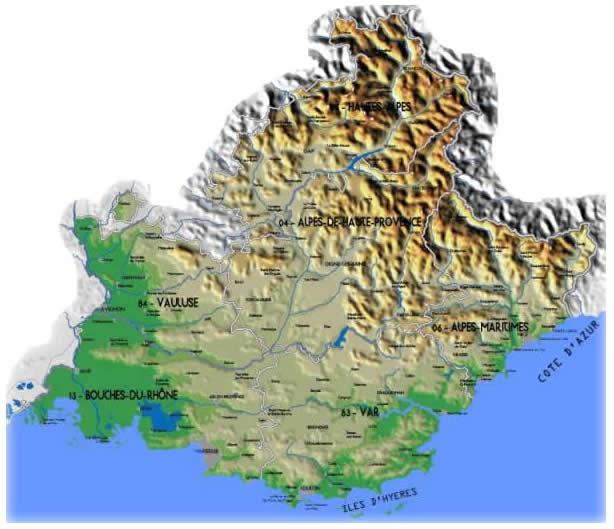 Costa Azzurra Cartina Politica.Cartina Provenza Alte Alpi Costa Azzurra
