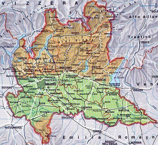 Cartina Dettagliata Lombardia.Cartina Lombardia
