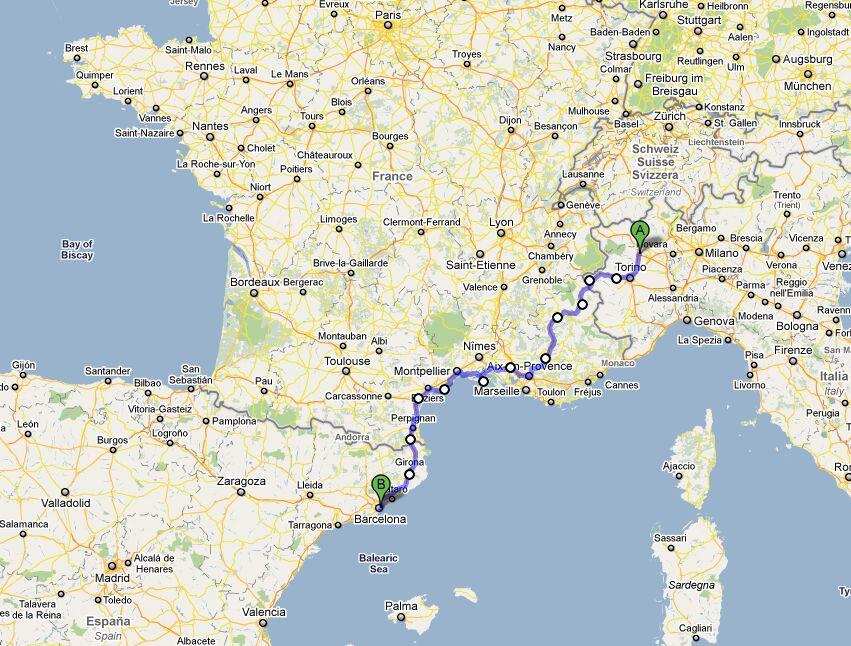 Cartina Italia Francia Spagna.Estate 2008 Viaggio In Bici