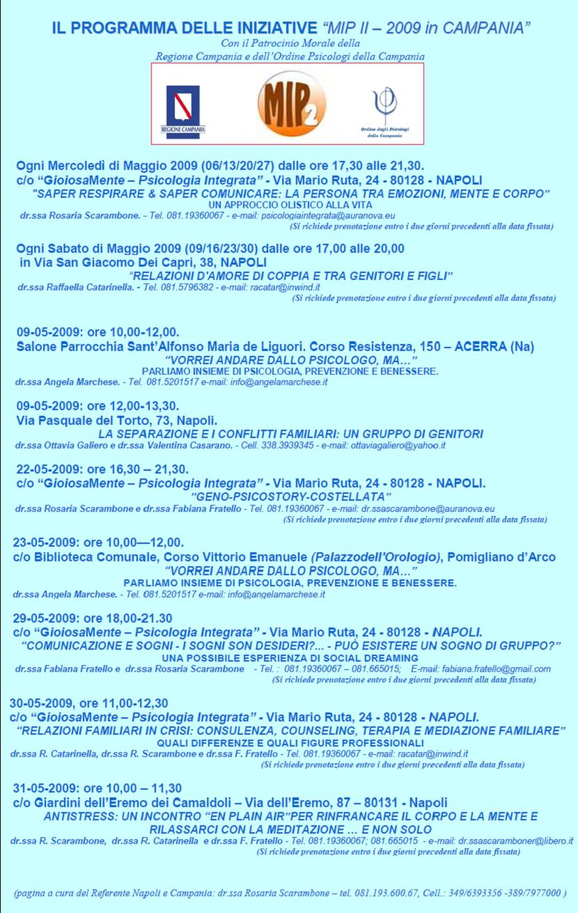 Tutte le Iniziative Gratuite del MIP 2009in Campania