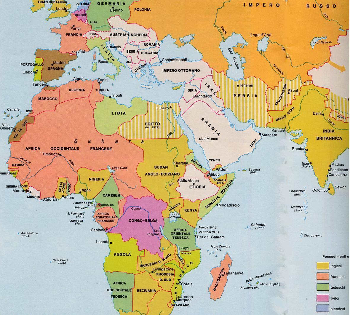 Africa Politica Cartina In Italiano.Il Colonialismo In Africa