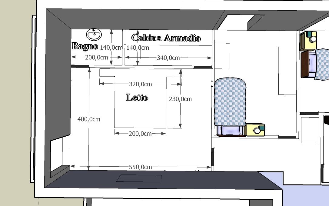 Forum aiuto per divisione spazi zona notte - Camera da letto con cabina armadio e bagno ...